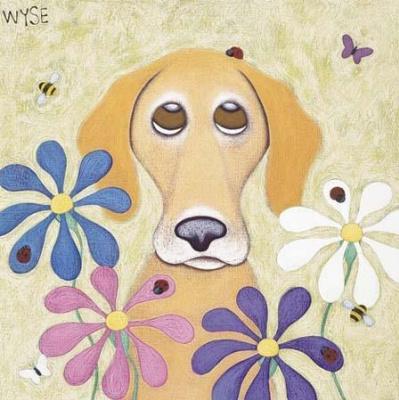 Стиль ар-деко Принт. Собака в цветах