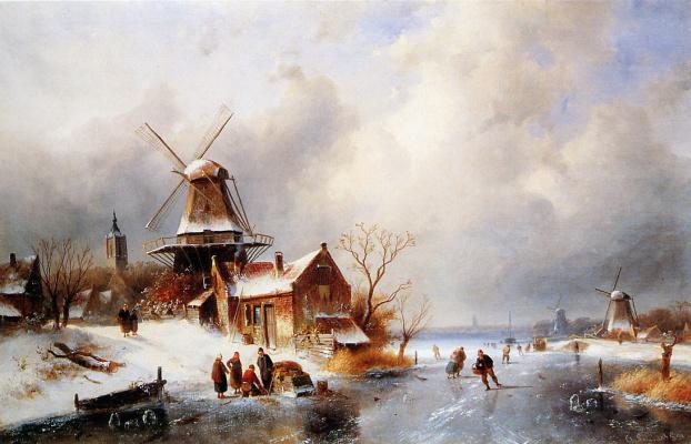 Charles Henry Joseph Lackert. Winter scene in Голландии2
