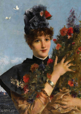 Alfred Emil-Leopold Stevens. Woman with flowers.