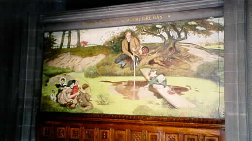 John Dalton collects swamp gas. The mural of the mural of the building of Manchester town hall