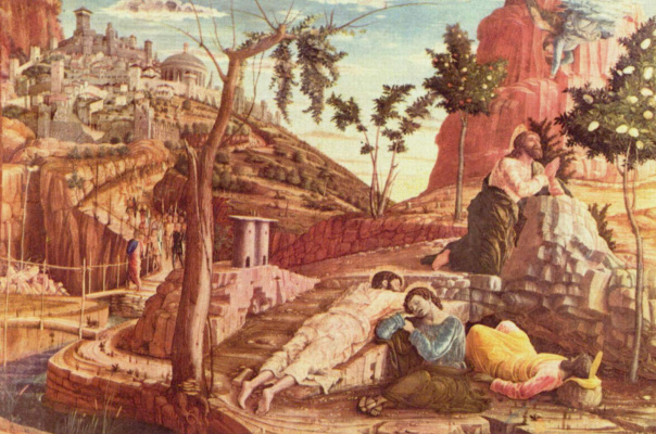 Andrea Mantegna. The altar of the Church of San Zeno in Verona, triptych, left the Board predelli. Christ on the mount of olives