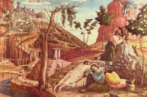 Андреа Мантенья. Алтарь церкви Сан Дзено в Вероне, триптих, левая доска пределлы. Христос на Масличной горе