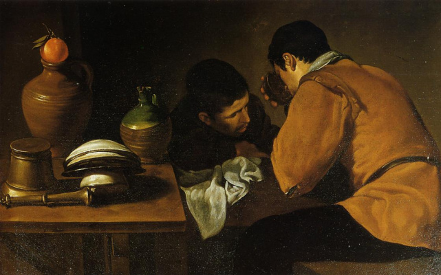 Diego Velazquez. Two young men at the table