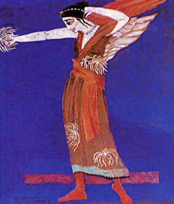 """Alexandra Exter. Nymph. Costume design for the play """"Famira Mousagetes"""" on the play by I. Annensky. Moscow Chamber theatre"""