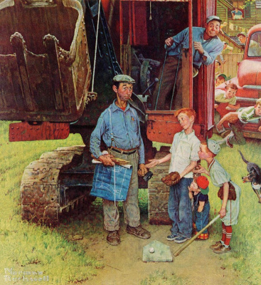 """Norman Rockwell. A team of builders. Cover of """"The Saturday Evening Post"""" (21 Aug 1954)"""