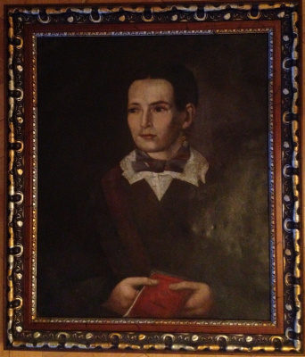 """Unknown Author. """"Portrait of a woman with a book"""", 1853.,copper plate/M., 58х48"""
