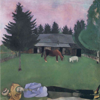 Marc Chagall. The poet, lying on the ground