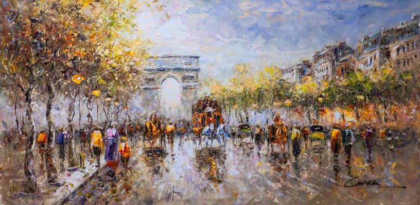 """(no name). Landscape of Paris by Antoine Blanchard """"Champs Elysees, Arc de Triomphe"""""""