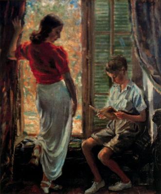 Джордж Оуэн Винн Апперлей. Женщина с ребенком у окна