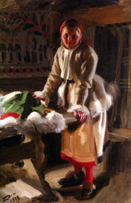 Anders Zorn. The girl behind the Desk