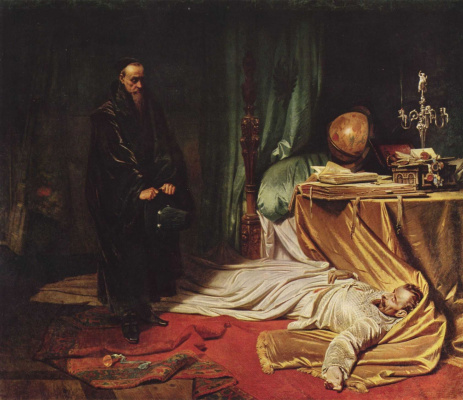 Karl Theodor von Piloti. The astrologer Seni before the body of Wallenstein