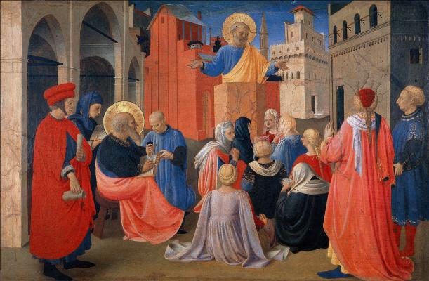 Fra Beato Angelico. Linayolskaya tabernacle. Fragment: Sermon of St. Peter