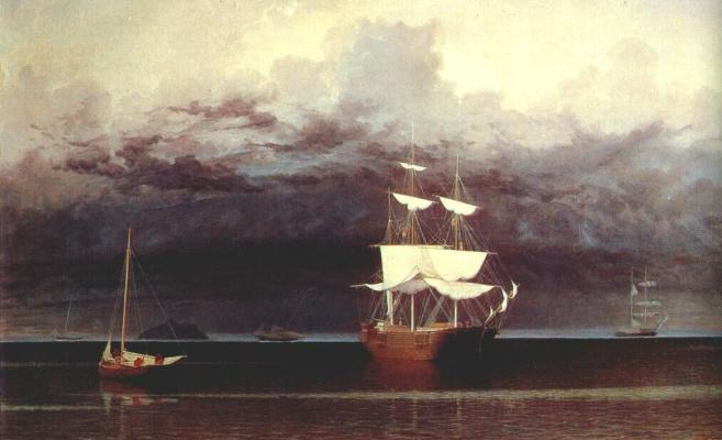 Фитц Хью Лейн. Корабли и приближение шторма от Камдена, штат Мэн