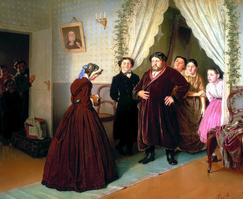 Vasily Grigorievich Perov. The arrival governess in a merchant house