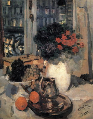 Konstantin Korovin. Cloves and violets in a white vase