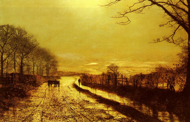 John Atkinson Grimshaw. The road into the distance