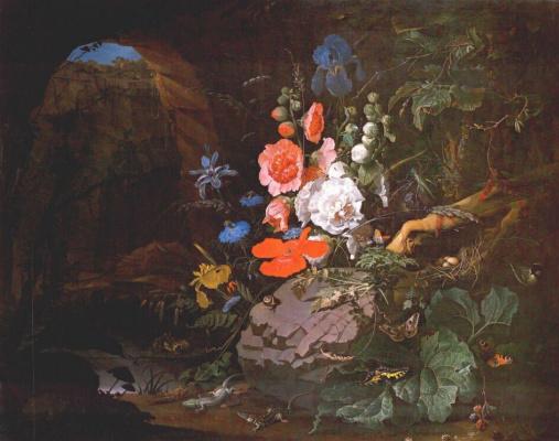 Авраам Миньон. Цветы, птицы, насекомые и рептилии в пещере