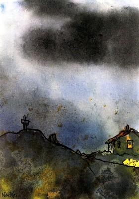 Дом и крест в горах
