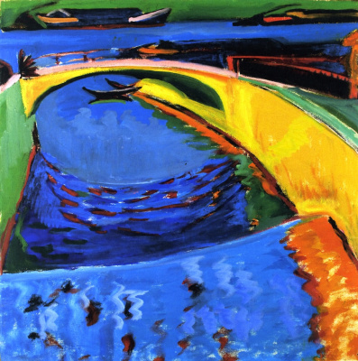 Ernst Ludwig Kirchner. The bridge at the mouth of the river