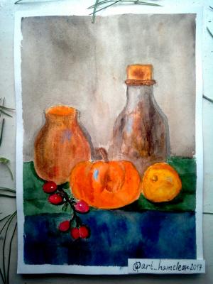 Неизвестный  художник. Натюрморт с тыквой и бутылкой
