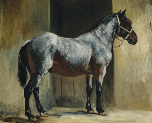 Théodore Géricault. Horse at the entrance to the stall