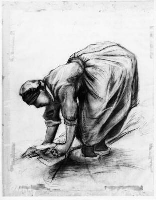 Винсент Ван Гог. Крестьянка, вяжущая снопы пшеницы