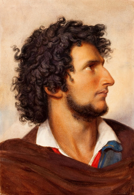 Фридрих фон Амерлинг. Голова молодого бородатого венецианца. 1860 мел