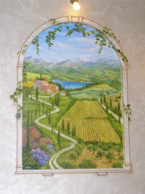 Віталій Бигич. Painting walls-simulated window(Tuscany)