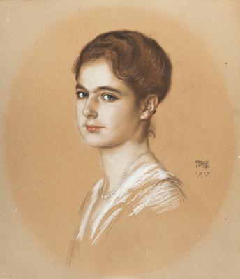 Франц фон Штук. Маргарита Рудольфа Габриэле Мунд. 1917  белила, цв. мелки
