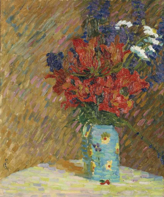 Giovanni Giacometti. Still life with tulips and wildflowers