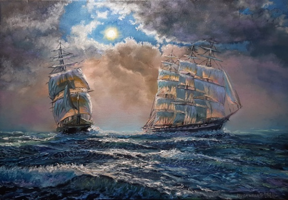 Evgeny Vladimirovich Terentyev. Sea. Two sailboats