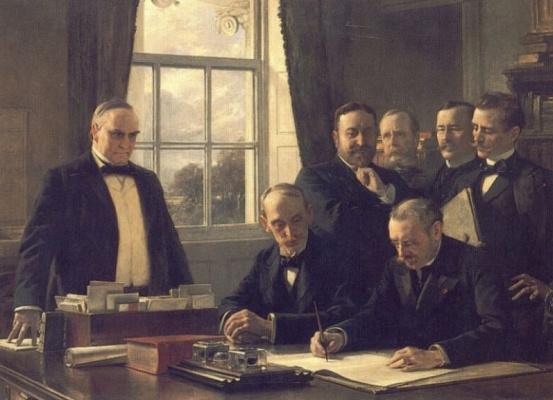 Теобальд Шартран. Подписание протокола мира между США и Испанией