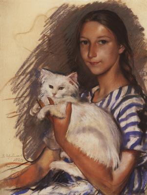 Zinaida Serebryakova. Portrait of Natasha Lancere with a cat