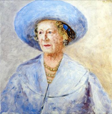 Avigdor Ariha. Portrait of woman in blue hat