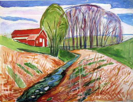 Edward Munch. Spring landscape with red house