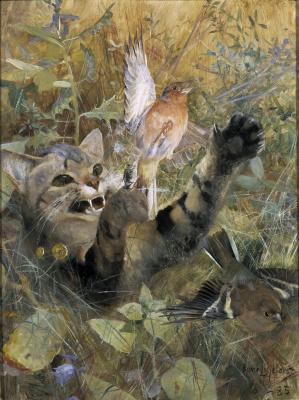 Бруно Лильефорс. Кот и зяблик