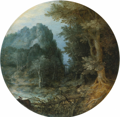 Jan Bruegel The Elder. Rocky forest landscape with castle.