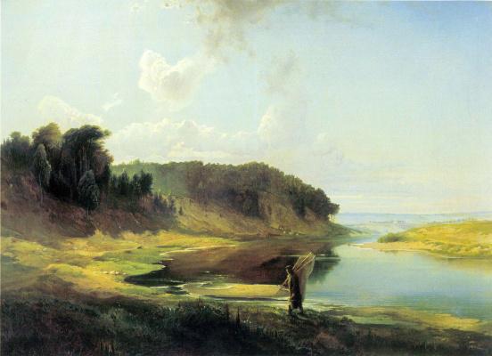 Alexey The Kondratyevich Savrasov. Landscape with river and fisherman