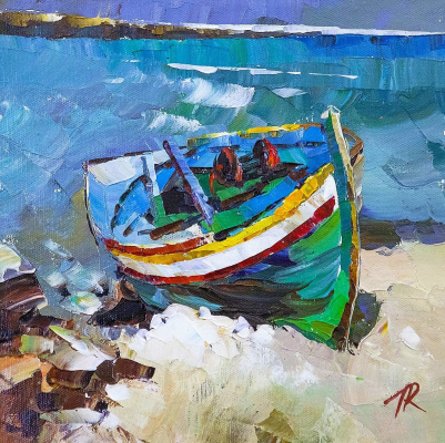 Jose Rodriguez. Green boat on the shore
