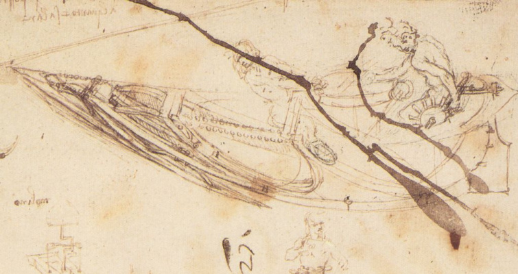 Leonardo da Vinci. Drawing boats