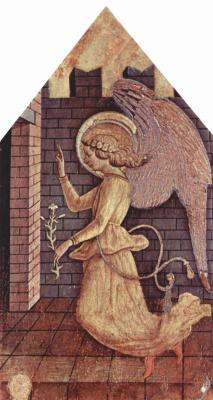 Карло Кривелли. Архангел Гавриил. Алтарь из церкви Сан Сильвестро в Масса Фермана, правое навершие