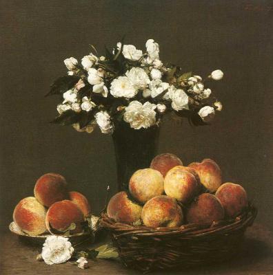 Белые розы и персики