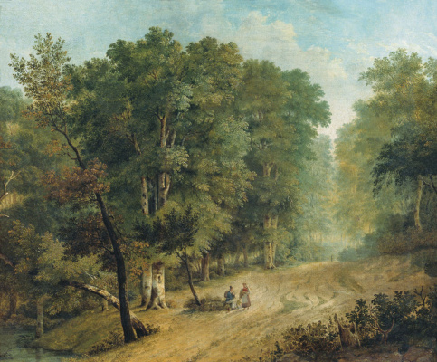Ignaty Stepanovich Shchedrovsky. The road in the forest (with figures). 1836