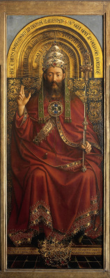 Jan van Eyck. The Ghent altarpiece. God the Father (detail)