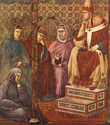 Giotto di Bondone. St. Francis preaches before Honorius III. Legend of St. Francis. Fragment