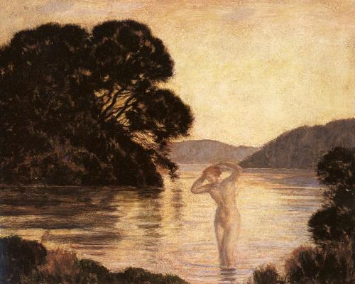 Marie Auguste René Emil Menard. Swimming in the lake