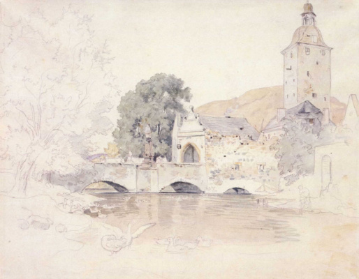Adrian Ludwig Richter. The bridge and gate tower of the castle of bil'in under Teplicam