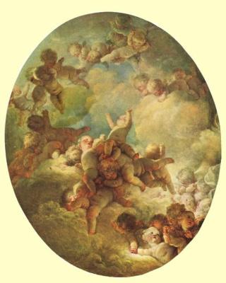 Jean Honore Fragonard. Cupids in the sky