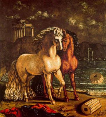 Giorgio de Chirico. Two horses on the shore