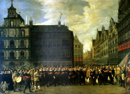 "David Teniers the Younger. Group portrait of the members of the rifle guild ""Old Crossbow"" in Antwerp"